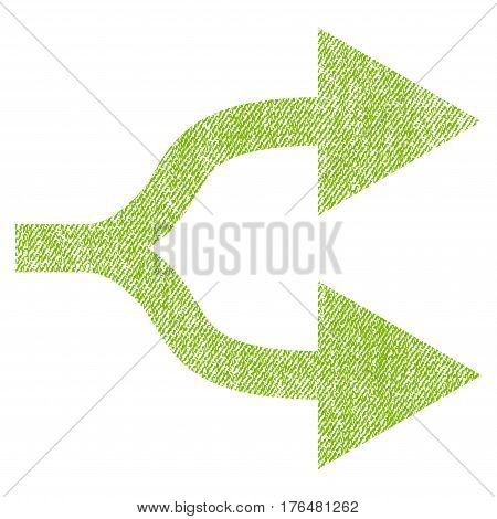 Split Arrows Right vector textured icon for overlay watermark stamps. Fabric light green vectorized texture. Symbol with dust design. Rubber seal stamp with fiber textile structure.