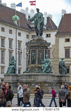 Austria, Vienna - May 8, 2012. Visiting Statue Of Francis Ii, Amorem Meum Populis Meis.
