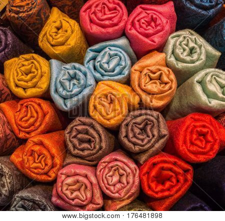 Colorful shawls in a store at Grand Bazaar in Istanbul Turkey