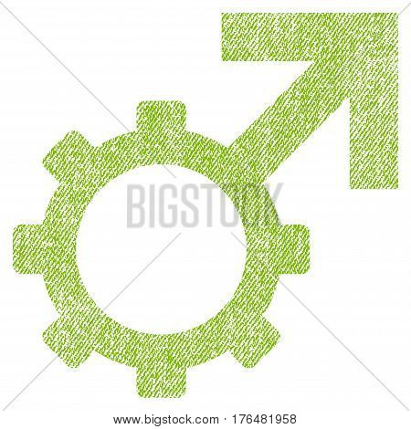 Technological Potence vector textured icon for overlay watermark stamps. Fabric light green vectorized texture. Symbol with dust design. Rubber seal stamp with fiber textile structure.