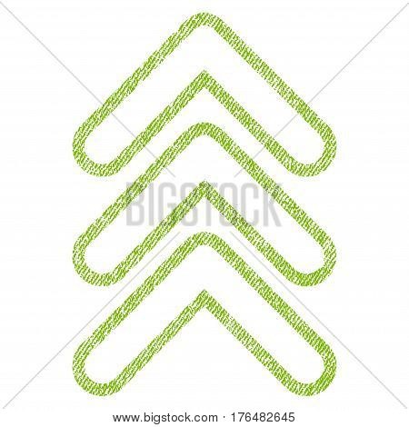 Triple Pointer Up vector textured icon for overlay watermark stamps. Fabric light green vectorized texture. Symbol with scratched design. Rubber seal stamp with fiber textile structure.
