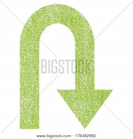 Turn Back vector textured icon for overlay watermark stamps. Fabric light green vectorized texture. Symbol with unclean design. Rubber seal stamp with fiber textile structure.
