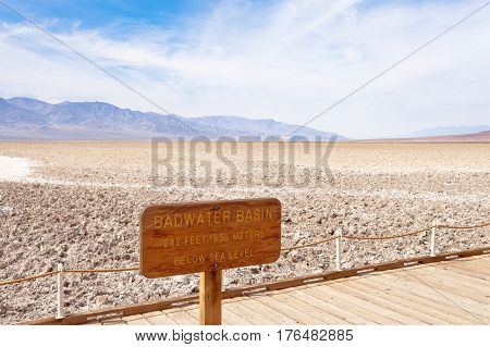 Badwater Basin Boardwalk Sign Death Valley Np Us
