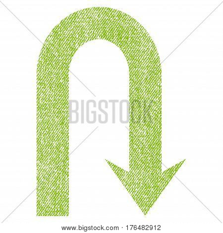 Turn Back vector textured icon for overlay watermark stamps. Fabric light green vectorized texture. Symbol with dirty design. Rubber seal stamp with fiber textile structure.