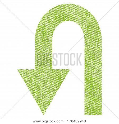 Turn Back vector textured icon for overlay watermark stamps. Fabric light green vectorized texture. Symbol with dust design. Rubber seal stamp with fiber textile structure.