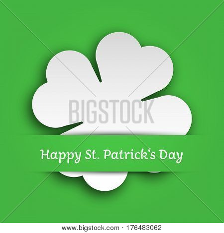 Cut out four leaf clover attached in the green paper pocket. St Patricks Day card. EPS10 vector illustration.