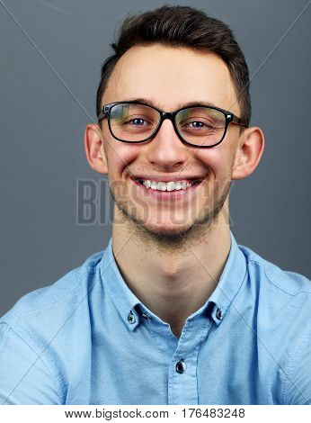 Handsome Young Man, Smiling Wear Glasses Blue Shirt