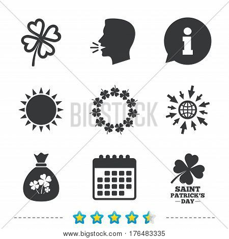 Saint Patrick day icons. Money bag with clover sign. Wreath of quatrefoil clovers. Symbol of good luck. Information, go to web and calendar icons. Sun and loud speak symbol. Vector