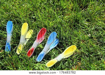 Blue, Yellow And Red Clothes Pegs Or Clothespins On Green Grass