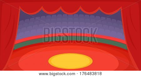 Circus horizontal banner concept arena. Cartoon illustration of circus vector horizontal banner for web