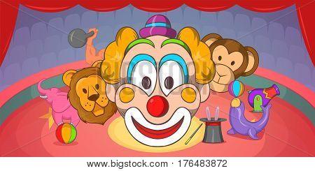 Circus horizontal banner concept clown. Cartoon illustration of circus vector horizontal banner for web