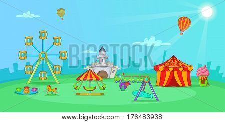 Circus horizontal banner concept landscape. Cartoon illustration of circus vector horizontal banner for web