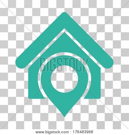 Realty Location icon. Vector illustration style is flat iconic symbol cyan color transparent background. Designed for web and software interfaces.