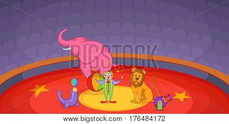 Circus horizontal banner concept scene. Cartoon illustration of circus vector horizontal banner for web