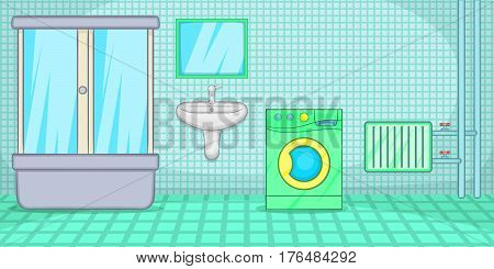Plumber horizontal banner concept bathroom. Cartoon illustration of plumber vector horizontal banner concept for web