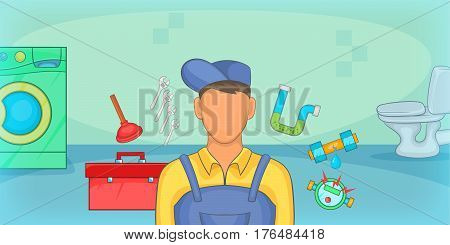Plumber horizontal banner concept. Cartoon illustration of plumber vector horizontal banner concept for web