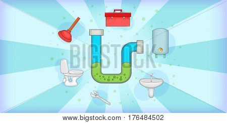 Plumber horizontal banner concept tools. Cartoon illustration of plumber vector horizontal banner concept for web