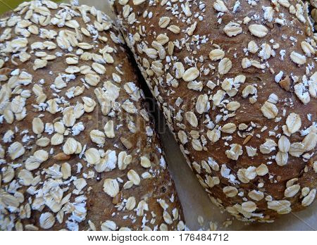 Closed up multi-grain breads, whole grain bread loaves for background