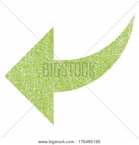 Undo vector textured icon for overlay watermark stamps. Fabric light green vectorized texture. Symbol with dirty design. Rubber seal stamp with fiber textile structure.