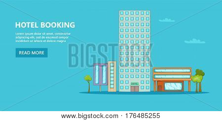 Hotel horizontal banner concept sky. Cartoon illustration of hotel vector horizontal banner concept for web.