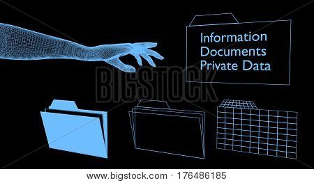 Digital hand reaching for digital folders with private data.