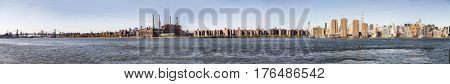 Skyline Of New York With River Hudson