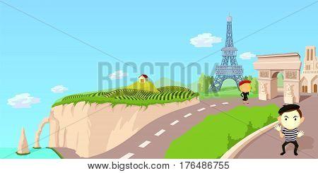 france travel horizontal banner concept. Cartoon illustration of France travel vector horizontal banner concept for web