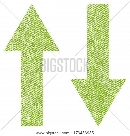 Vertical Flip Arrows vector textured icon for overlay watermark stamps. Fabric light green vectorized texture. Symbol with unclean design. Rubber seal stamp with fiber textile structure.