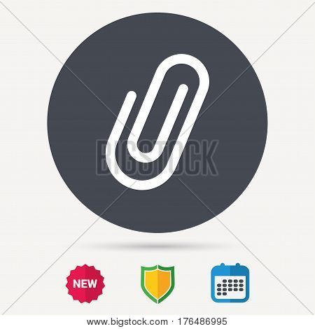 Attachment icon. Paper clip symbol. Calendar, shield protection and new tag signs. Colored flat web icons. Vector