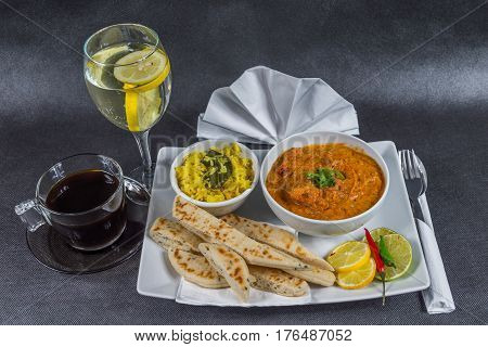 Oriental Indian Set, Chicken Tikka Masala, Naan Bread, White Plate, Black Coffee, Water, Napkin, Pep