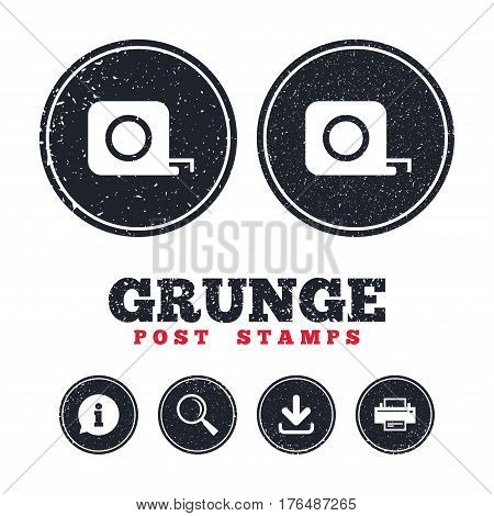 Grunge post stamps. Roulette construction sign icon. Tape measure symbol. Information, download and printer signs. Aged texture web buttons. Vector