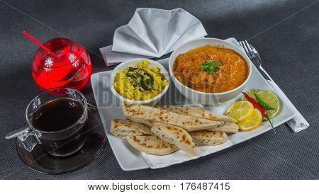 Oriental Indian Set, Chicken Tikka Masala, Naan Bread, White Plate, Black Coffee, Drink, Napkin, Pep