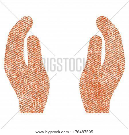Applause Hands vector textured icon for overlay watermark stamps. Fabric orange vectorized texture. Symbol with dirty design. Rubber seal stamp with fiber textile structure.