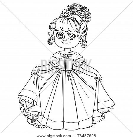 Beautiful Little Princess Curtsies Outlined For Coloring Book Is