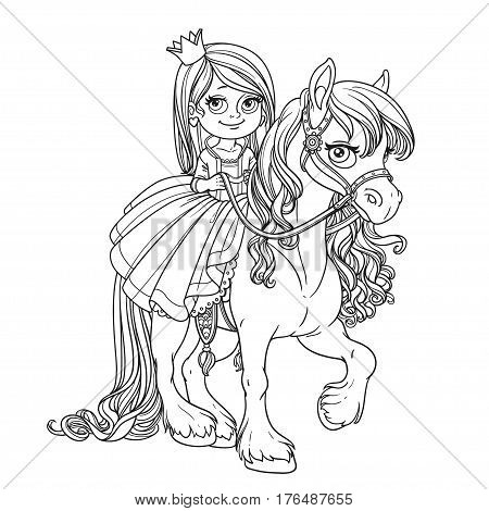 Beautiful Little Princess Riding On Horse Outlined For Coloring