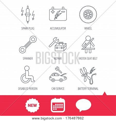 Accumulator, spanner tool and car service icons. Repair toolbox, wheel and spark plug linear signs. Disabled person, battery terminal icons. New tag, speech bubble and calendar web icons. Vector poster