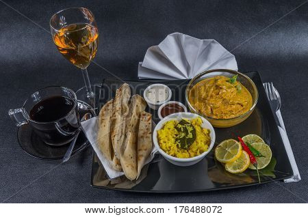 Oriental Indian Set, Chicken Korma, Naan Bread, Plate, Coffee, White Wine, Napkin, Peppers, Sauces