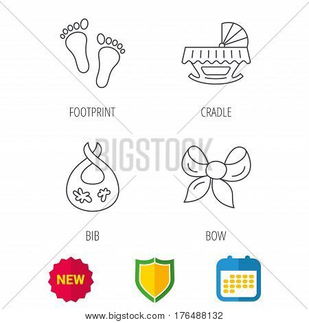 Footprint, cradle and dirty bib icons. Bow linear sign. Shield protection, calendar and new tag web icons. Vector