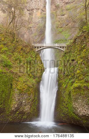 Multnomah Falls And Benson Footbridge Oregon Or Us