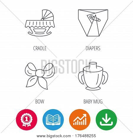 Baby mug, diapers and cradle bed icons. Bow linear sign. Award medal, growth chart and opened book web icons. Download arrow. Vector