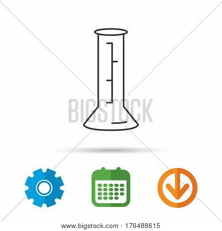 Beaker icon. Laboratory flask sign. Chemistry or pharmaceutical symbol. Calendar, cogwheel and download arrow signs. Colored flat web icons. Vector