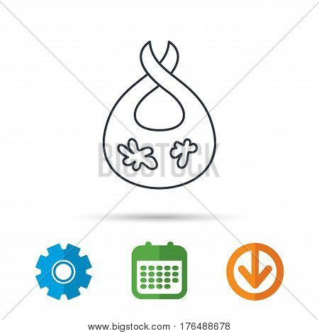 Bib with dirty spots icon. Baby clothes sign. Feeding wear symbol. Calendar, cogwheel and download arrow signs. Colored flat web icons. Vector