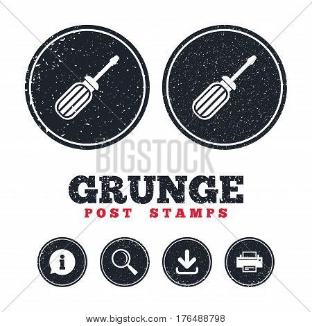 Grunge post stamps. Screwdriver tool sign icon. Fix it symbol. Repair sign. Information, download and printer signs. Aged texture web buttons. Vector