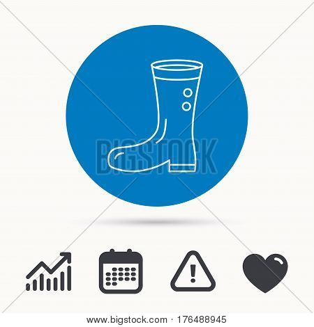 Boots icon. Garden rubber shoes sign. Waterproof wear symbol. Calendar, attention sign and growth chart. Button with web icon. Vector