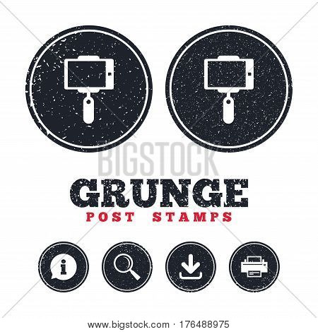 Grunge post stamps. Monopod selfie stick icon. Self portrait tool. Information, download and printer signs. Aged texture web buttons. Vector