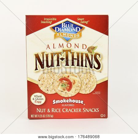 Spencer Wisconsin March14 2017 Box of Blue Diamond Nut Thin Smokehouse Crackers Blue Diamond Growers is an American Company founded in 1910