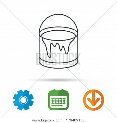 Bucket of paint icon. Painting box sign. Calendar, cogwheel and download arrow signs. Colored flat web icons. Vector