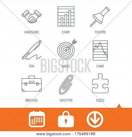 Handshake, graph charts and target icons. Puzzle, pushpin and safety pin linear signs. Briefcase and pen flat line icons. Download arrow, locker and calendar web icons. Vector