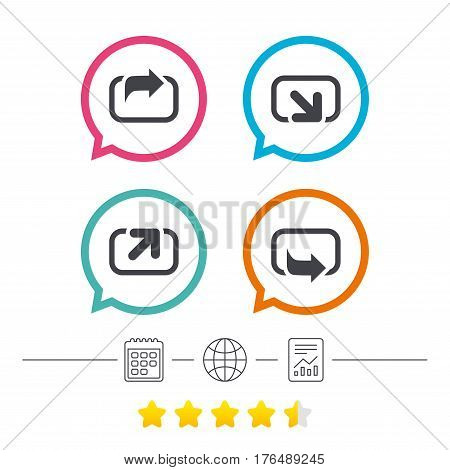 Action icons. Share symbols. Send forward arrow signs. Calendar, internet globe and report linear icons. Star vote ranking. Vector