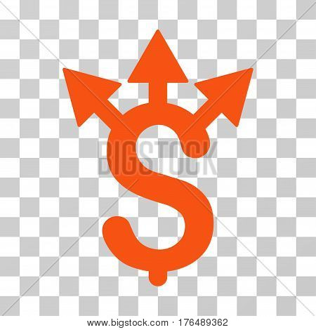Expences icon. Vector illustration style is flat iconic symbol, orange color, transparent background. Designed for web and software interfaces.